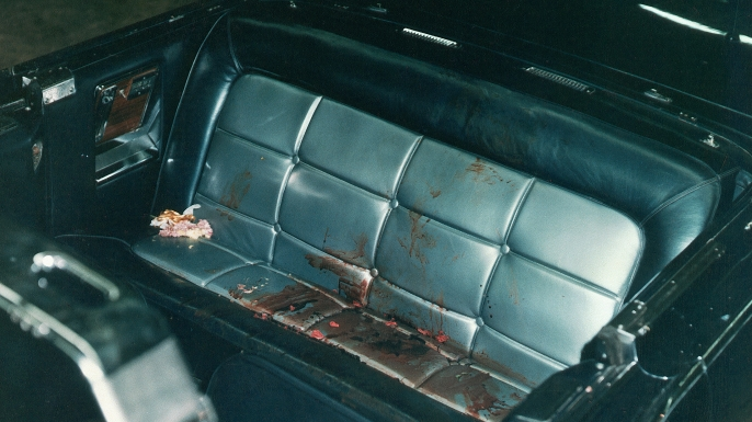 The interior of the Presidential limousine after the Kennedy assassination. (Credit: Corbis via Getty Images)
