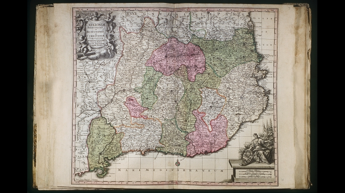 Catalonia map after the Independence, edited by Matthaei Seutteri, 18th Century. (Credit: Fototeca Gilardi/Getty Images)