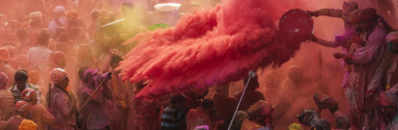 Indian Hindu devotees celebrate Holi, the spring festival of colours, during a traditional gathering at Nandgaon village in Uttar Pradesh state on March 7, 2017. Holi is observed in India at the end of the winter season on the last full moon of the lunar month, and was celebrated on March 13, 2017