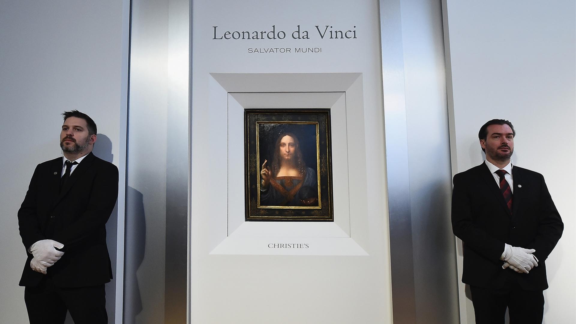 Leonardo da Vinci's 'Salvator Mundi' unveiled at Christie's New York on October 10, 2017 in New York City. (Credit: Ilya S. Savenok/Getty Images for Christie's Auction House)
