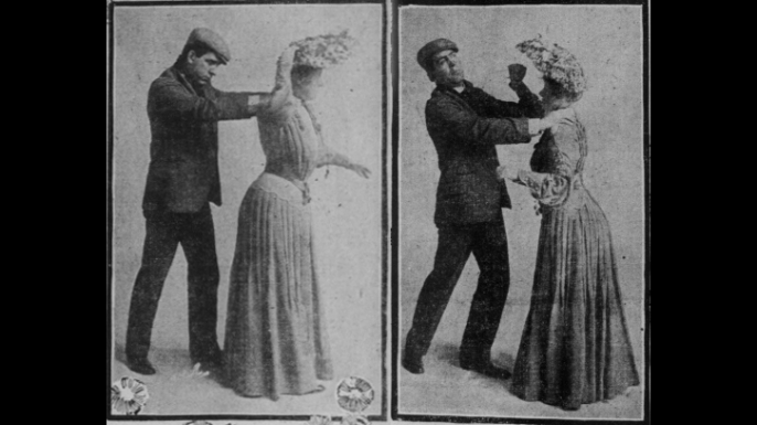 A woman demonstrating how to use a hat pin in self defense, 1904. (Credit: Public Domain)