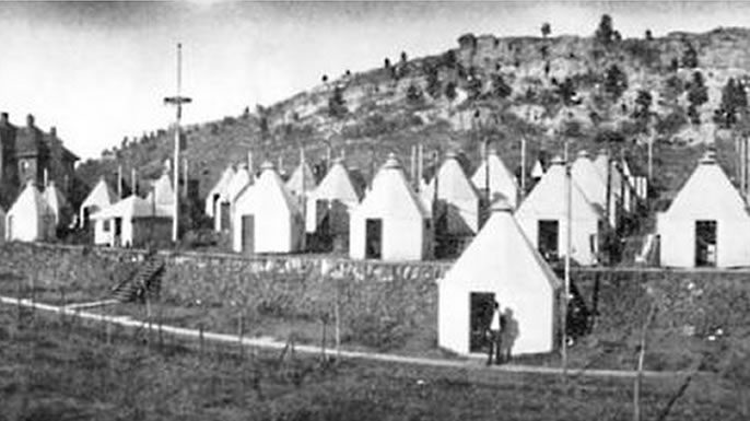 Tuberculosis huts at the Nordach Sanatorium in Austin Bluffs, Colorado.