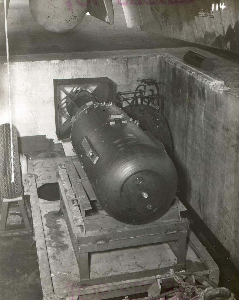 'Little Boy' unit, on trailer cradle in the bomb pit, waiting to be loaded onto the Enola Gay. (Credit: Nara Archives/REX/Shutterstock)