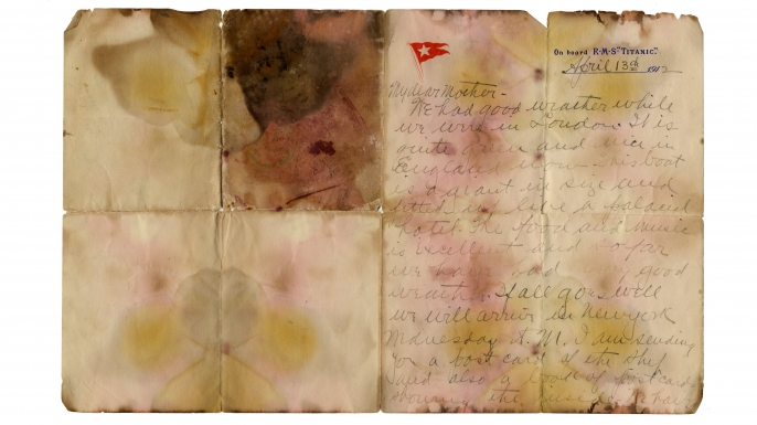 Letter written by first class Titanic passenger Alexander Holversson sold at auction. The handwritten letter on embossed Titanic stationery was written by Alexander Oskar Holverson while aboard the doomed RMS Titanic, on April 13, 1912 a day before the ship sank. (Credit: Henry Aldridge and Son Auctioneers)