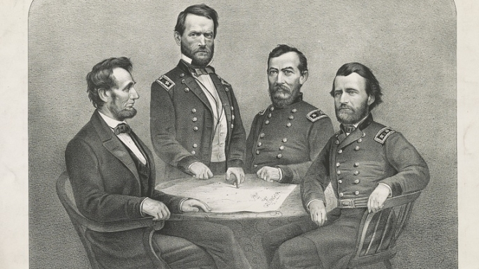Abraham Lincoln, William Tecumseh Sherman, Philip Henry Sheridan, and Ulysses S. Grant at General Grant's headquarters. (Credit: The Library of Congress)