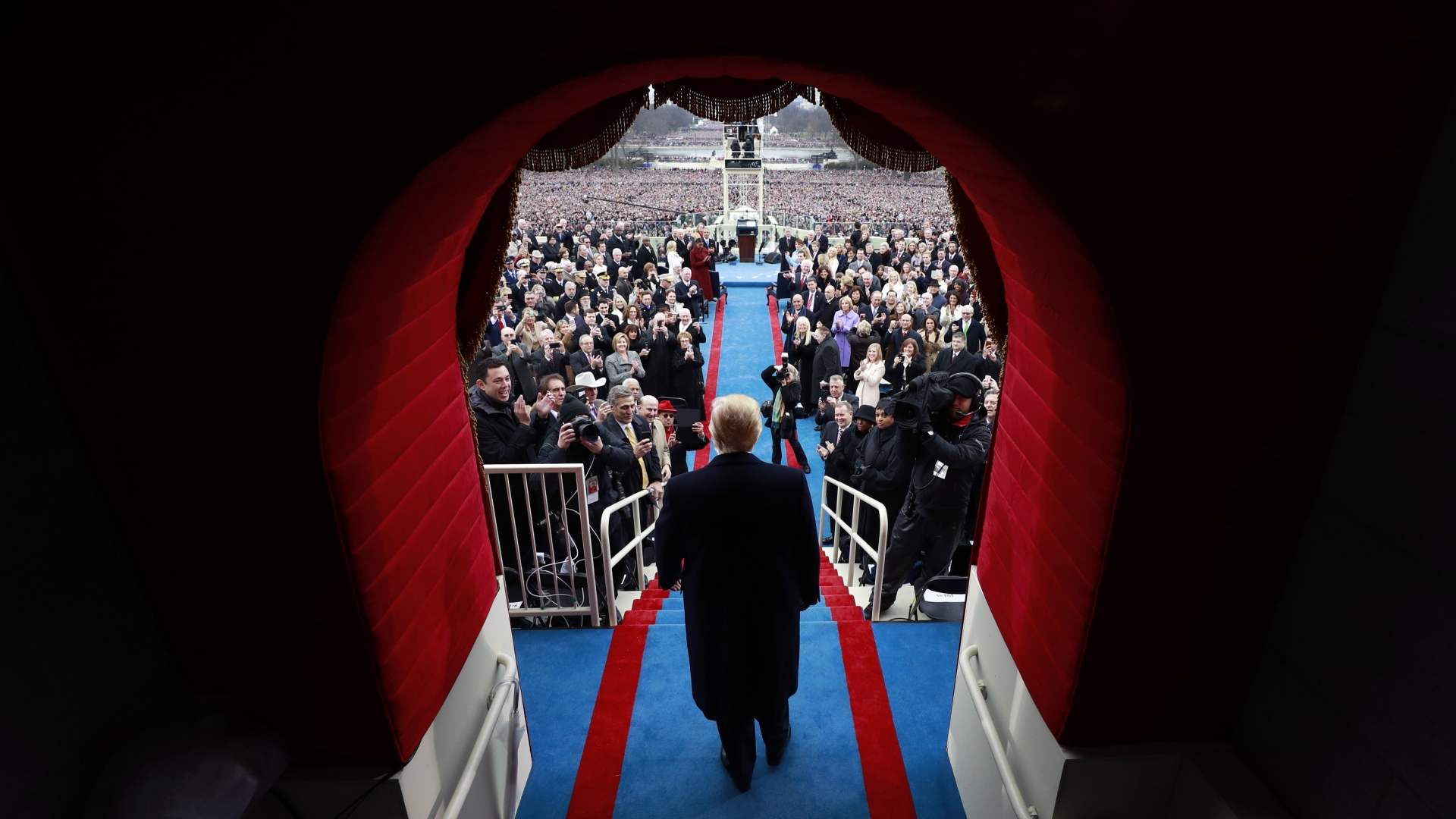 Donald J. Trump arriving at his inauguration at the United States Capitol on January 20, 2017 in Washington, DC. Donald J. Trump became the 45th president of the United States. (Credit: Doug Mills - Pool/Getty Images)