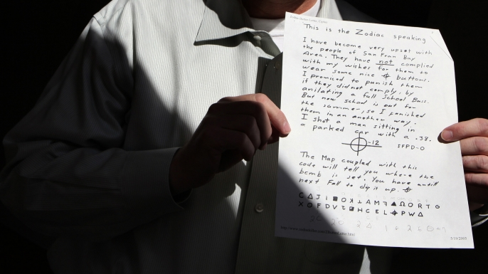 Many people have taken an interest in trying to solve the cryptograms left behind by the Zodiac, puzzles that that many believe may contain his identity and other vital information about him. (Credit: Antonio Perez/Chicago Tribune/MCT via Getty Images)