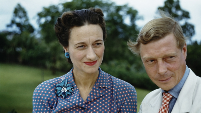 Wallis Simpson and the Duke of Windsor outside Goverment House in Nassau, the Bahamas, circa 1942. The Duke of Windsor served as Governor of the Bahamas from 1940 to 1945. (Credit: Ivan Dmitri/Michael Ochs Archives/Getty Images)