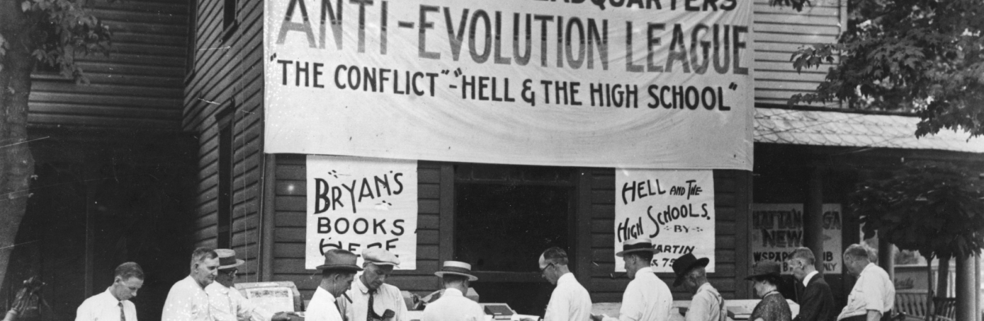 Anti-evolution books on sale in Dayton, Tennessee, where the 'Monkeyville' trial of Professor John T Scopes took place. (Credit: Topical Press Agency/Getty Images)