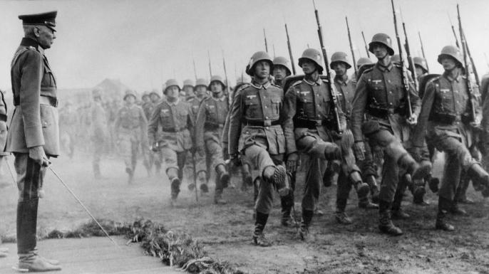Hans von Seeckt watching as troops march by, 1936. (Credit: Ullstein Bild via Getty Images)