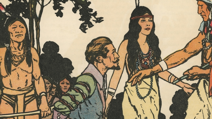 1931 illustration of Captain John Smith being 'saved' by Pocahontas. (Credit: GraphicaArtis/Getty Images)
