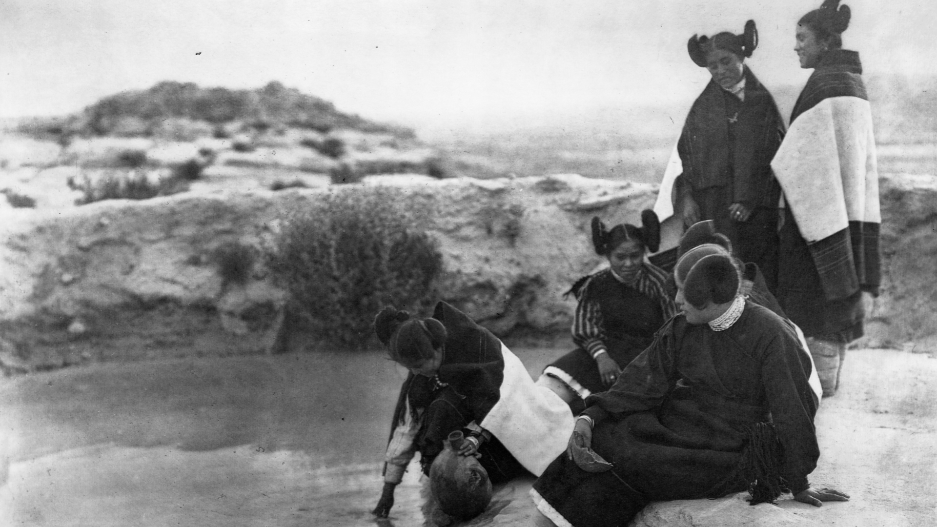 A photograph of Hopi girls in traditional dress. (Credit: Edward S. Curtis/Library of Congress/Corbis/VCG via Getty Images)