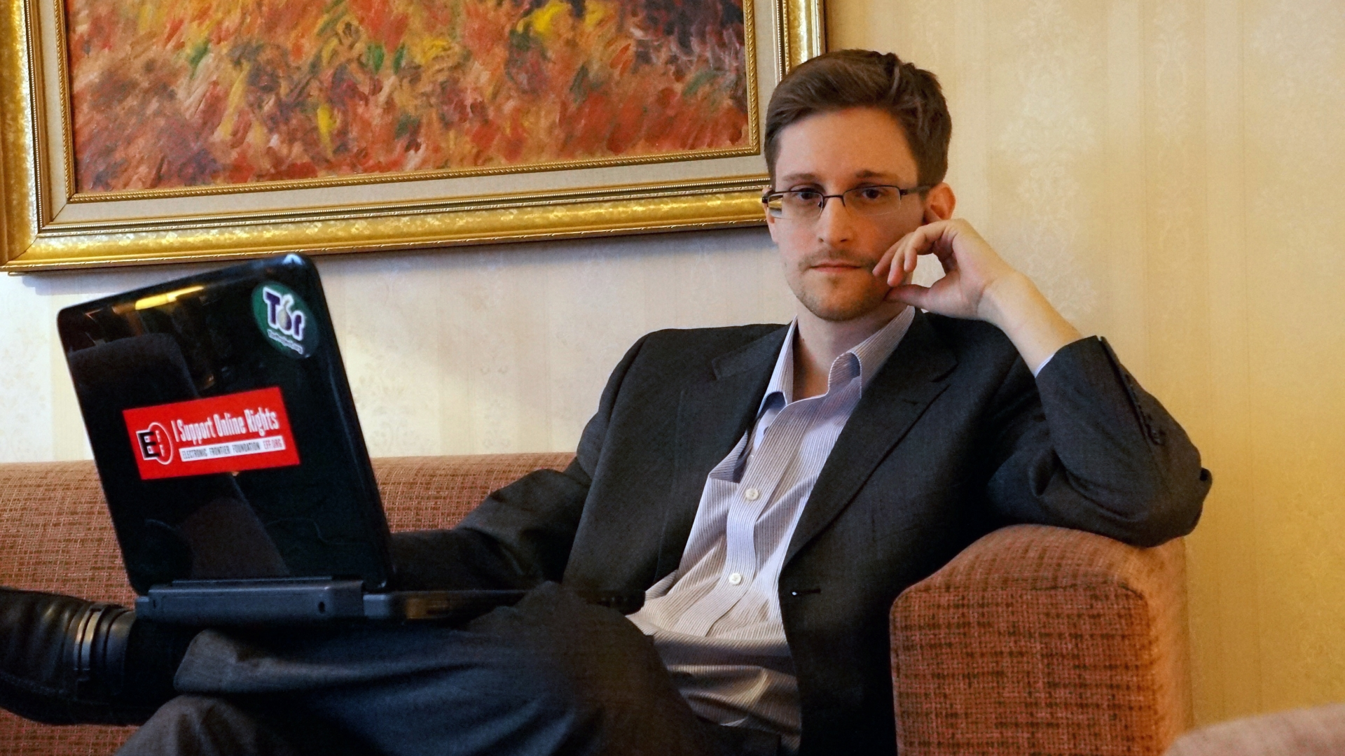 Former intelligence contractor Edward Snowden before an interview in Russia. (Credit: Barton Gellman/Getty Images)