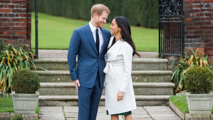 Prince Harry and actress Meghan Markle during an announcement of their engagement. They are due to marry in Spring 2018.  (Credit: Samir Hussein/Samir Hussein/WireImage)