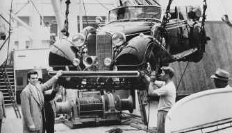 Christopher Janus picking up the notorious Hitler limousine at Pier 97 from the MS Stockholm, which brought the car from Sweden. (Courtesy of K.H. Gibson III)