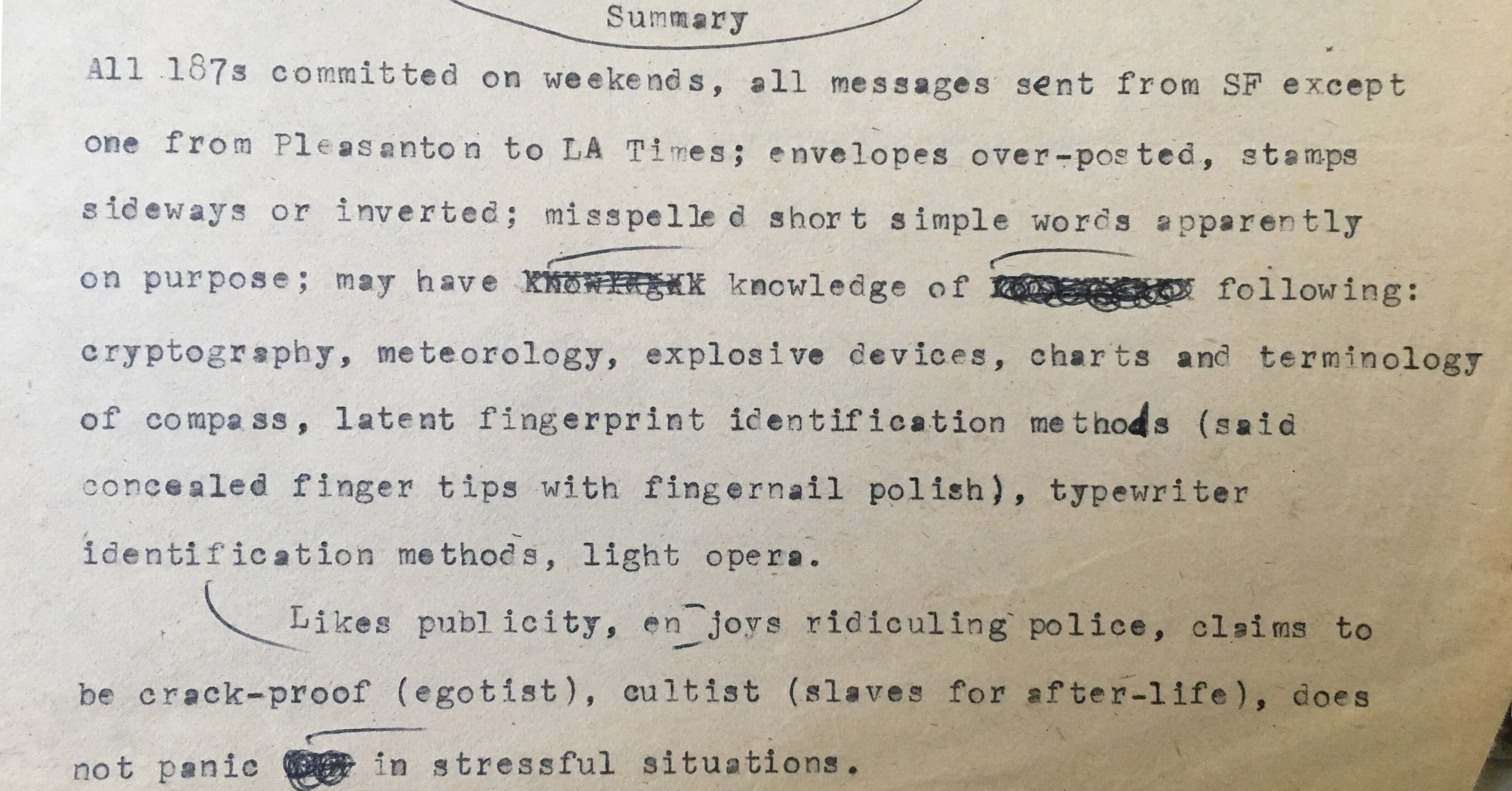 First Look: Exclusive Documents from a Zodiac Killer