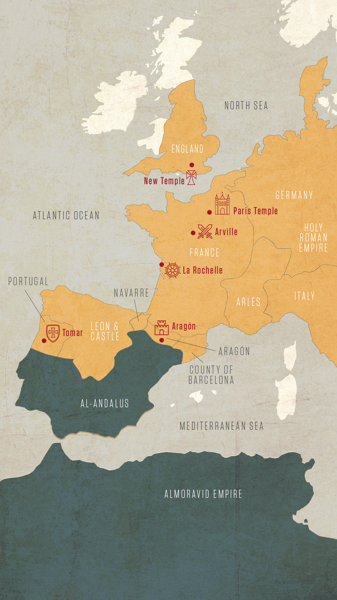 Map Top Templar Sites In Western Europe History In The Headlines - Western europe