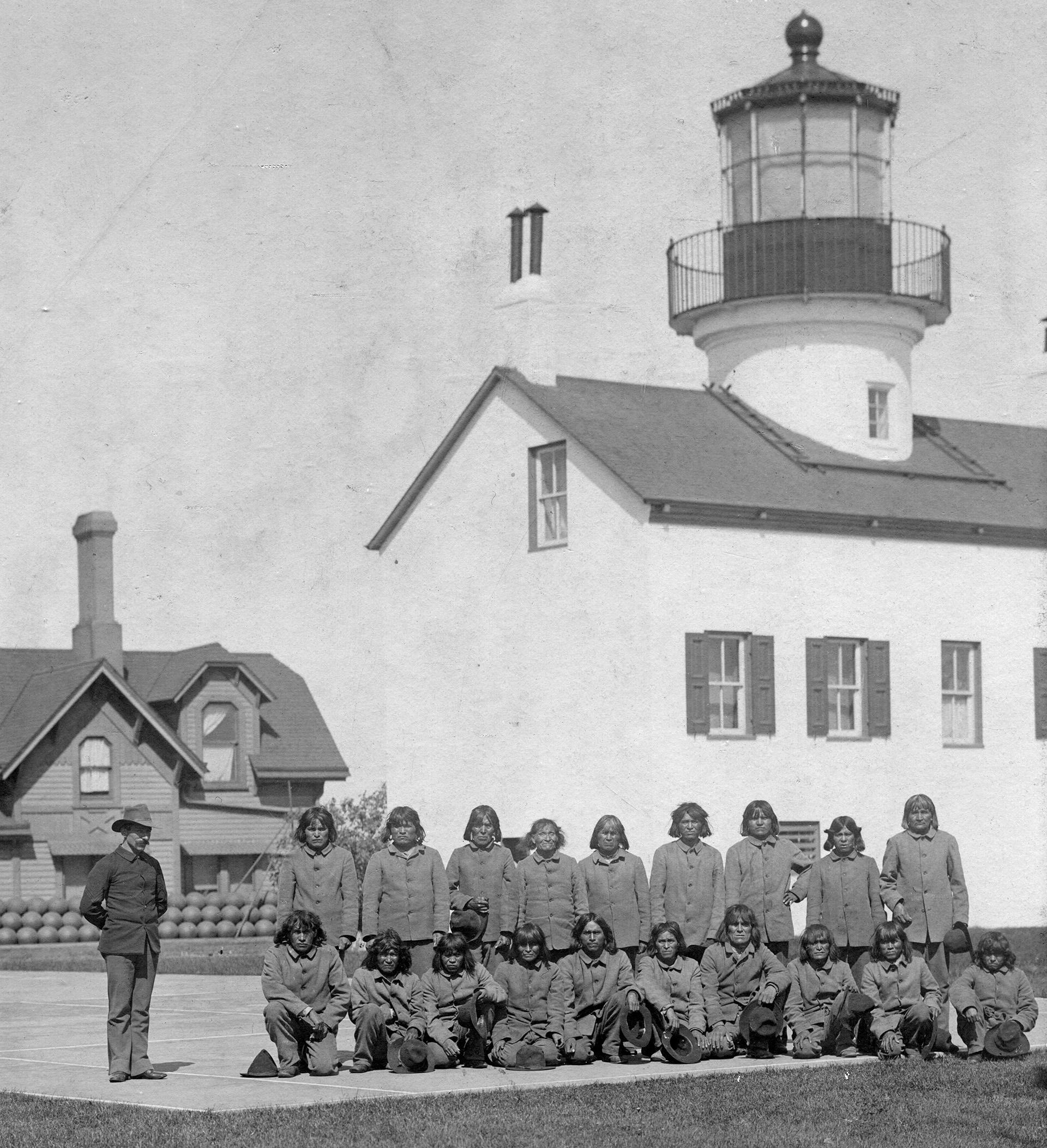 Hopi men from Oraibi, Arizona sent to Alcatraz, 1895. (Credit: Mennonite Library and Archives/Bethel College, North Newton, KS)