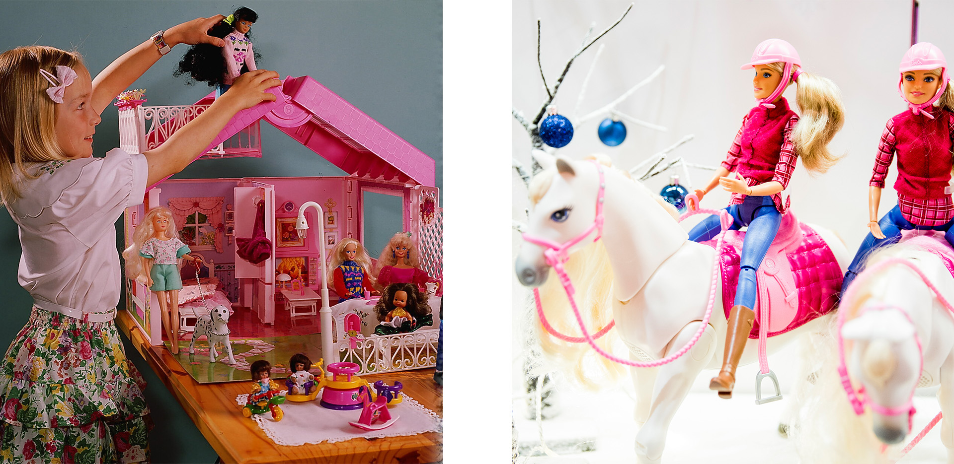 Barbie Dream House (Credit: Gierth/ullstein bild via Getty Images) and Barbie Dream Horse (Credit: Tristan Fewings/Getty Images)