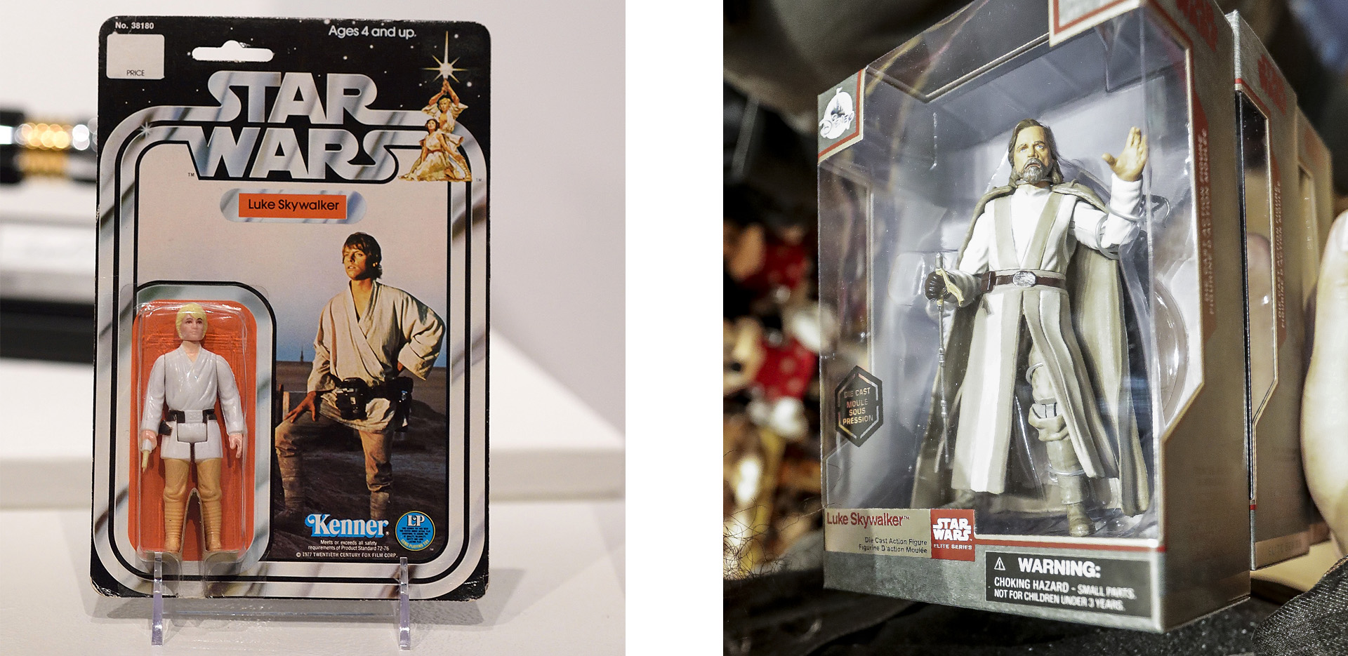 1970s Luke Skywalker action figure (Credit: Don Emmert/AFP/Getty Images) and Luke Skywalker, from Star Wars: The Last Jedi, action figure (Credit: Jeenah Moon/Bloomberg via Getty Images)