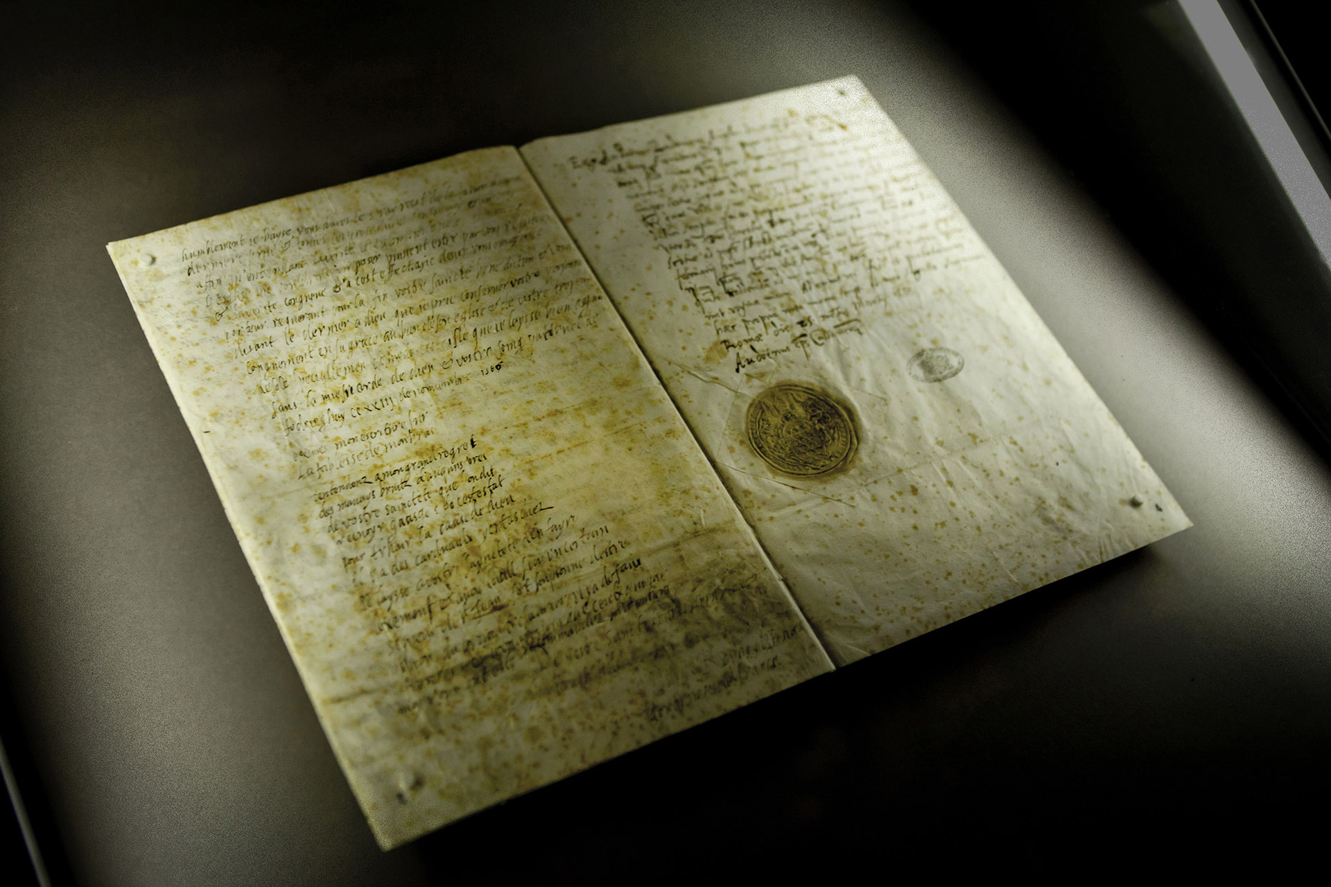 Last letter from Mary Queen of Scots to Pope Sixtus V in an exhibition of documents from the Vatican Secret Archives, 2012. (Credit: Rex Features via AP Images)