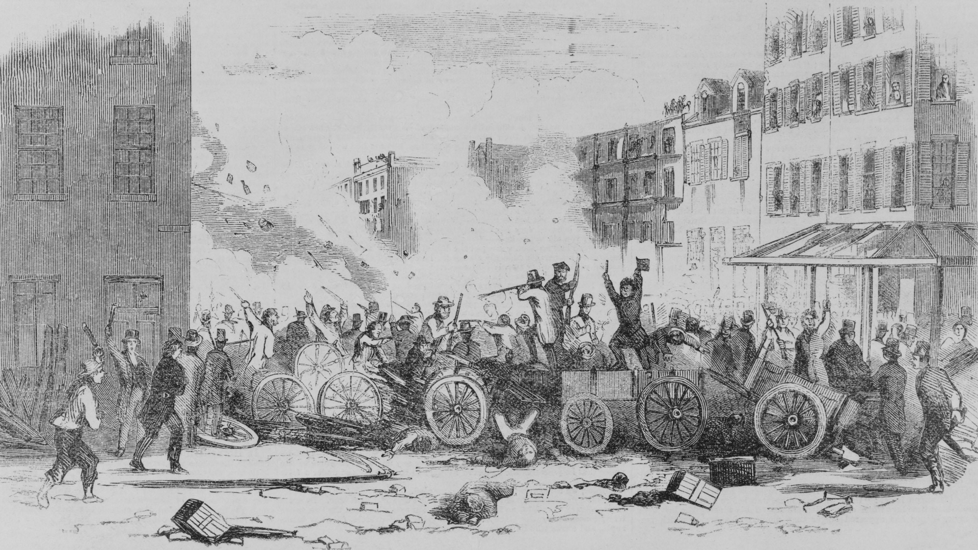 The battle on Bayard Street of the Irish gang, the 'Dead Rabbits,' against the Bowery Boys, a nativist, anti-Catholic and anti-Irish gang, New York, 1857. (Credit: Everett Collection Inc/Alamy Stock Photo)