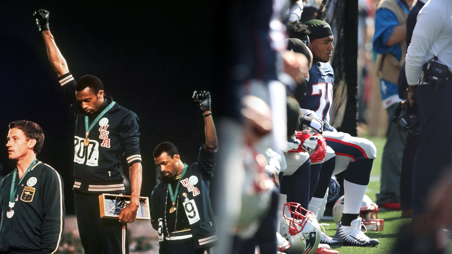 U.S. athletes Tommie Smith, center, and John Carlos staging a civil rights protest after Smith received the gold and Carlos the bronze for the 200 meter run at the Summer Olympic Games in Mexico City on Oct. 16, 1968. (Credit: AP Photo); New England Patriots Adam Butler takes a knee during the national anthem before the start of a game. (Credit: Jim Davis/The Boston Globe via Getty Images)