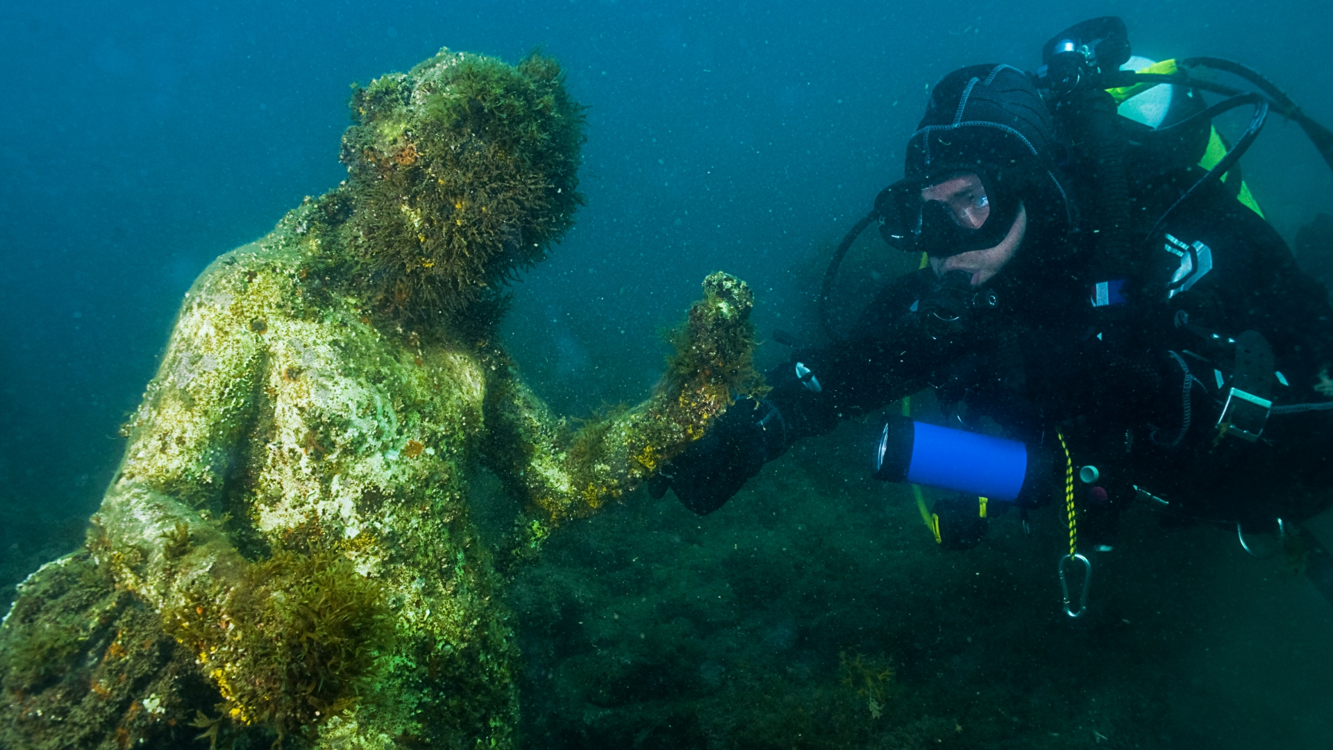 Statue of the Ninfeo in the underwater ancient Roman town in Baia. (Credit: Francesco Pacienza/Getty Images)