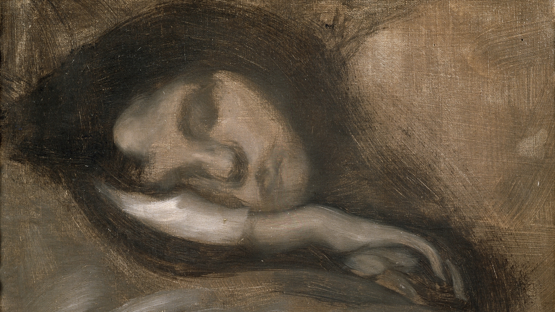 'Head of a Sleeping Woman', 19th century painting in the collection of the State A. Pushkin Museum of Fine Arts, Moscow. (Credit: Fine Art Images/Heritage Images/Getty Images)