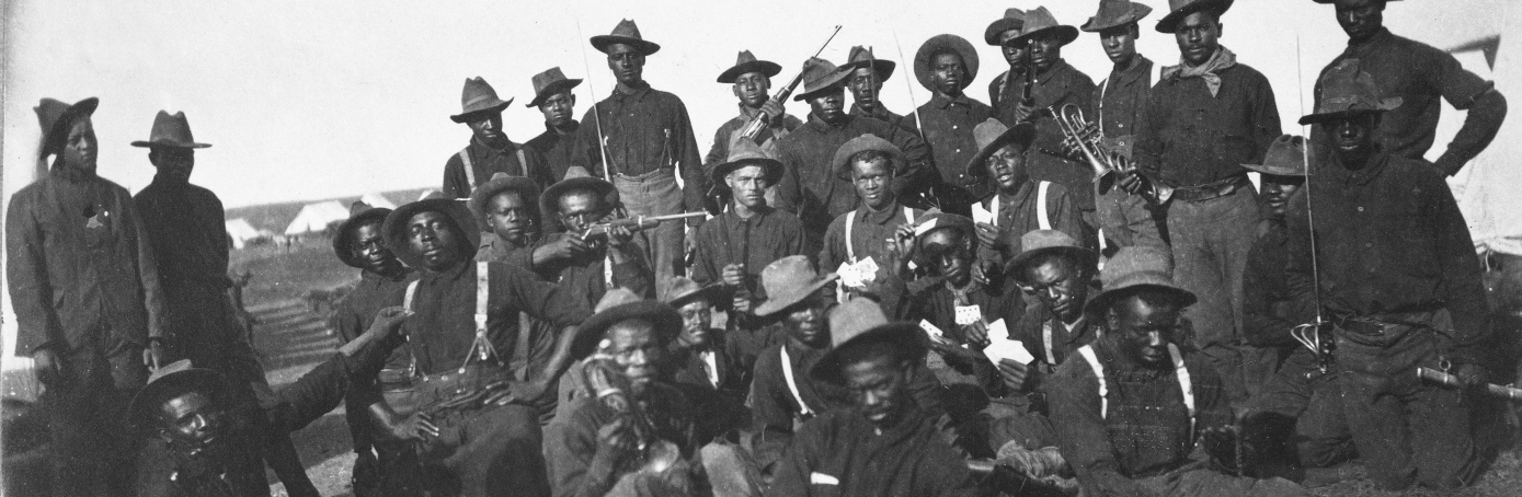 Group portrait of African-American soldiers from an unidentified cavalry unit at Camp Wikoff following their service in the Spanish American War, Montauk Point, New York, between August and December 1898. (Photo by US Army/National Archives/The LIFE Picture Collection/Getty Images)