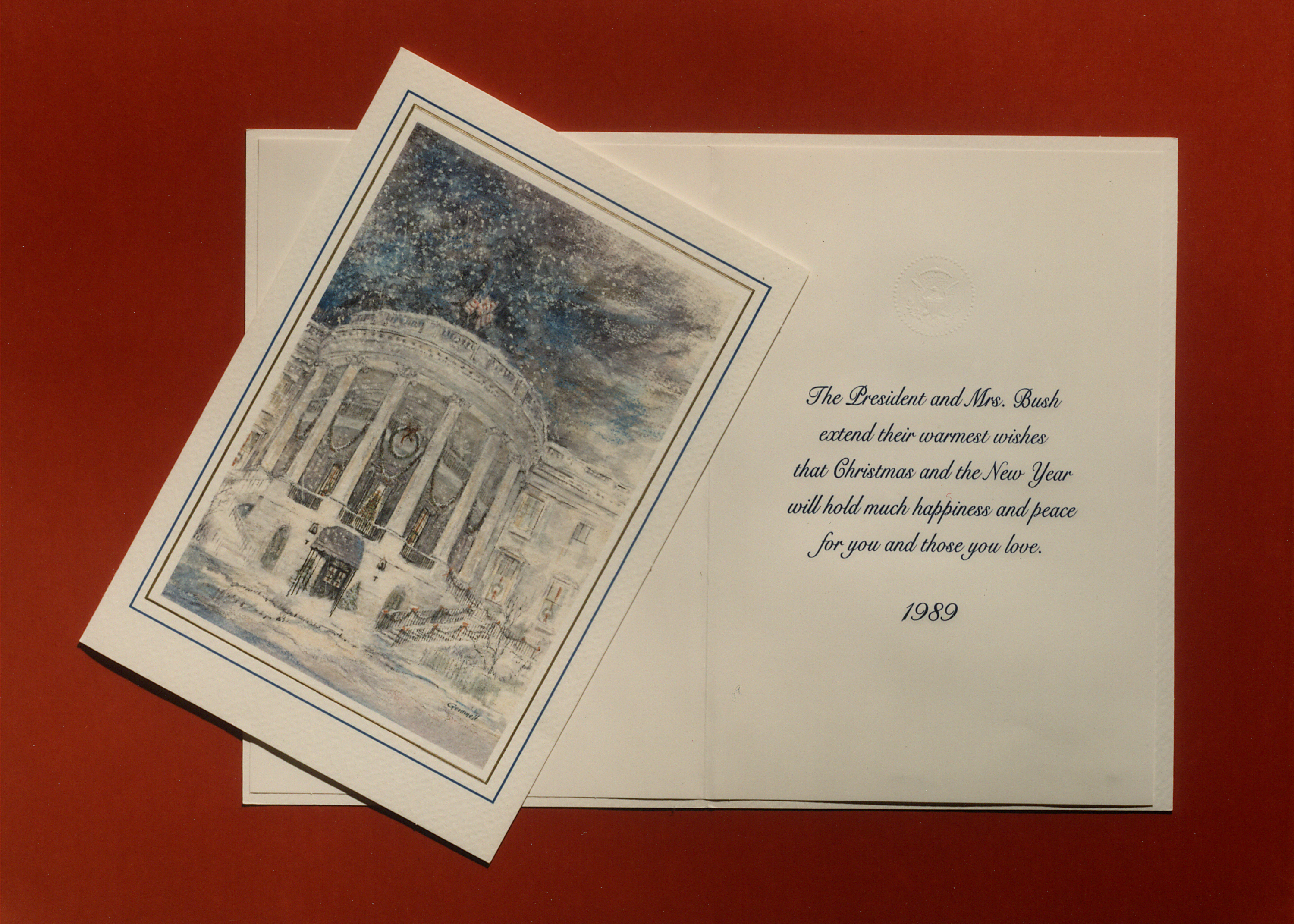 The war of words behind happy holidays history in the headlines white house christmas card from george h w bush 1989 credit white house kristyandbryce Image collections
