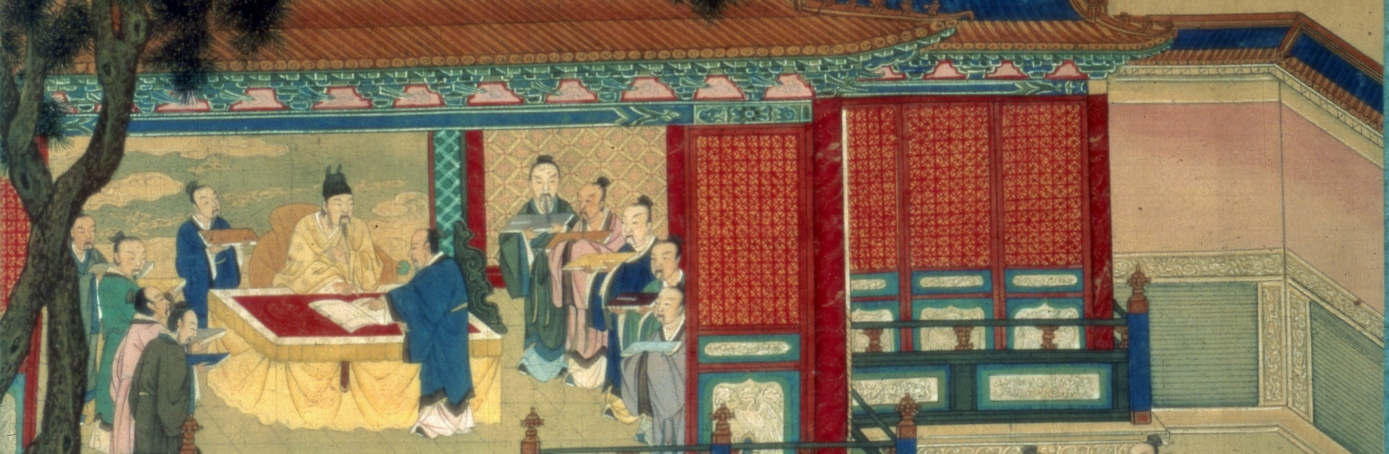 The Emperor of the Han Dynasty with scholars translating classical texts. (Credit: Photo12/UIG via Getty Images)