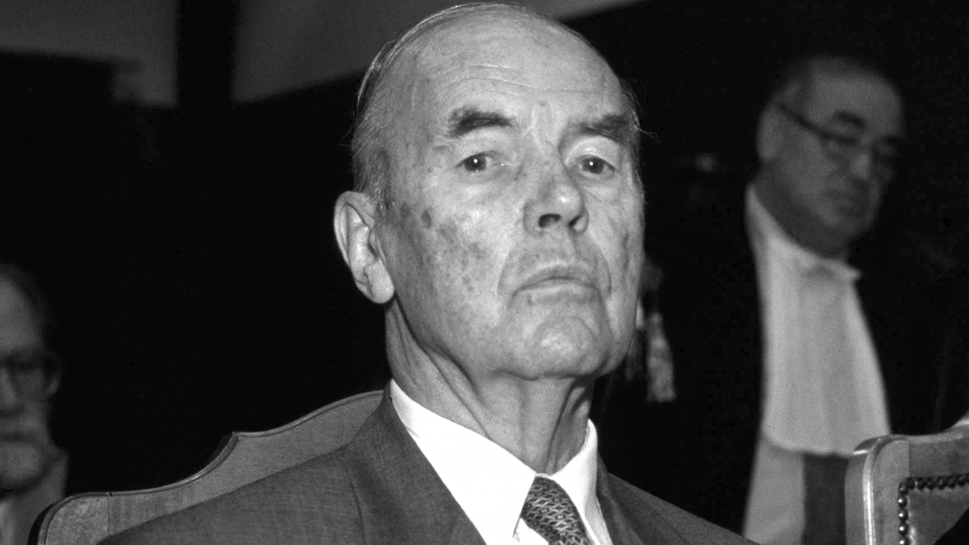 Former SS officer Erich Priebke during the trial at Military Court for participating in the 1944 Ardeatine caves massacre in Rome, where 335 civilians, including 75 Jews, were killed in retaliation for an ambush on German soldiers. He operated a Viennese deli in Patagonia until a 1994 street interview by journalist Sam Donaldson brought him to authorities' attention.  (Credit: Stefano Montesi/Corbis via Getty Images)