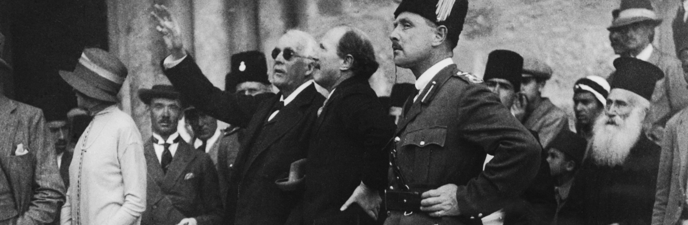 British politician Lord Arthur Balfour pointing out a feature of the Church of the Holy Sepulchre to Governor Sir Ronald Storrs during a visit to Jerusalem, 1925. The city's Arab residents were on strike as a protest against the Balfour Declaration supporting plans for a Jewish homeland in Palestine. (Credit: Topical Press Agency/Hulton Archive/Getty Images)