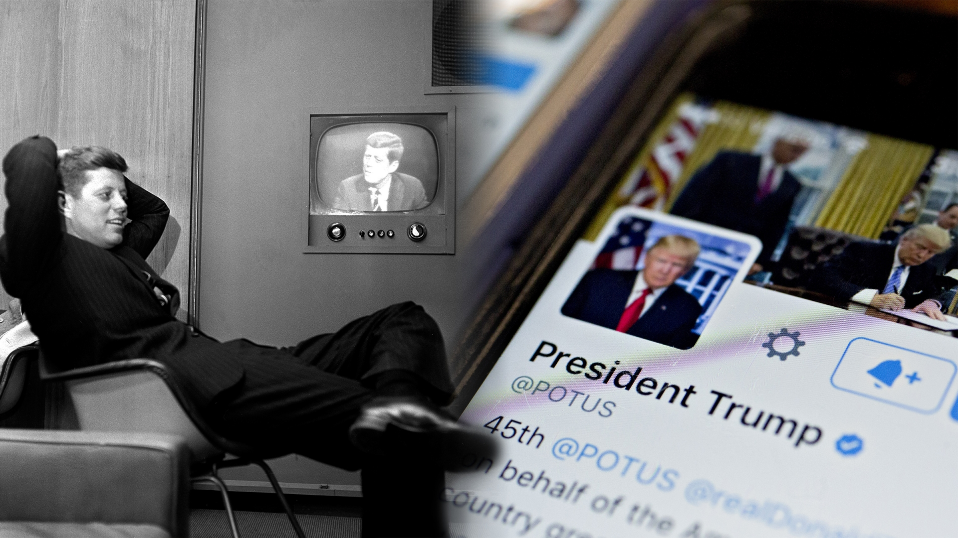 John F. Kennedy, then Democratic presidential nominee, sitting next to a playback of his televised appearance in Milwaukee for the Wisconsin presidential primary two days later. (Credit: AP Photo); The Twitter account of U.S. President Donald Trump, @POTUS. (Credit:  Andrew Harrer/Bloomberg via Getty Images)