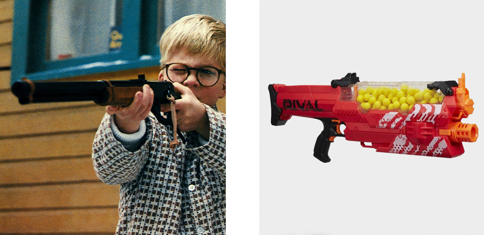Red Ryder BB gun (Credit: AF Archive/Alamy Stock Photo) and Nerf's Rival Nemesis (Image courtesy of Hasbro)