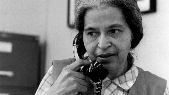 Rosa Parks, who once refused to move to the back of the bus in Montgomery, Alabama, now works on the staff of U.S. Congressman John Conyers, Jr. of the first district Michigan. Parks is shown May 28, 1971. (AP Photo/Jim McKnight)