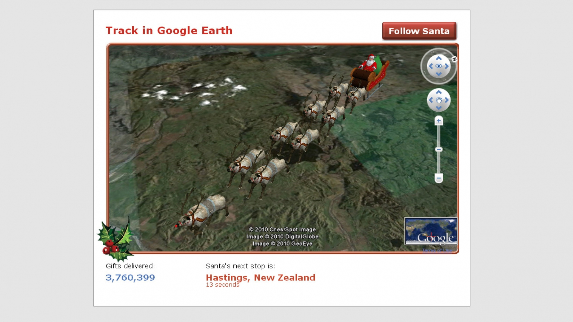 The NORAD Google Earth Santa Tracker where children are able to track Santa Claus as he travels the globe delivering presents. (Credit: REX/Shutterstock)