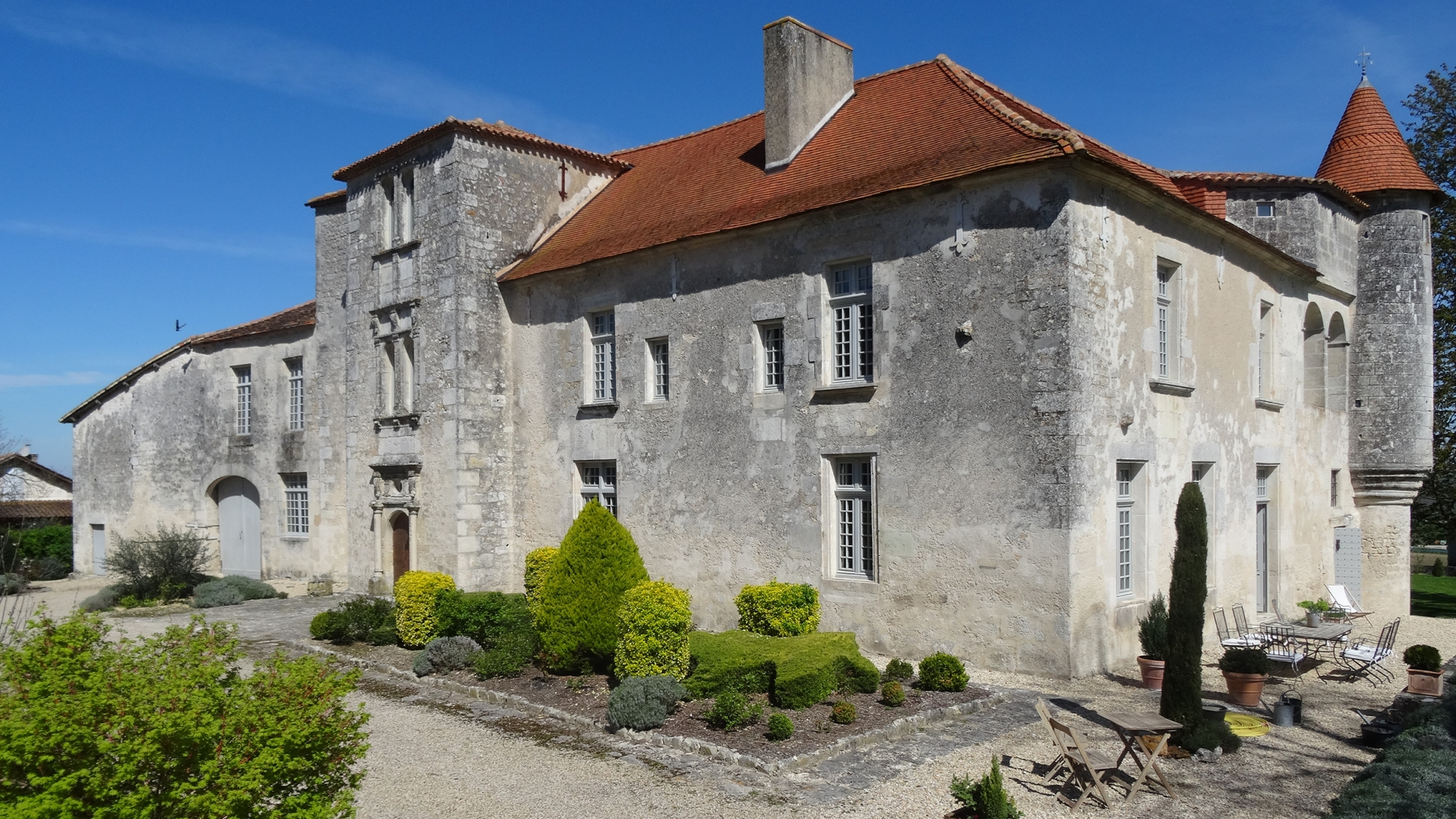 Château in Southern Charente, Angouleme.  ASKING PRICE: €1.54 million ($1.82 million). TEMPLAR CONNECTION: Built by the order during the 13th century as a commanderie, or estate under the control of a commander of a military order.  SELLING POINTS NOW: Small hilltop village location, 9 bedrooms, an architectural blend of Roman and Renaissance styles, a scullery, and a church and refectory on the property. (Photo courtesy of Maxwell-Baynes)