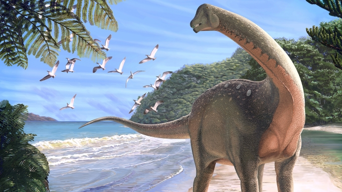 Illustration of the new titanosaurian dinosaur Mansourasaurus shahinae on a coastline in what is now the Western Desert of Egypt approximately 80 million years ago. (Credit: Andrew McAfee/Carnegie Museum of Natural History)