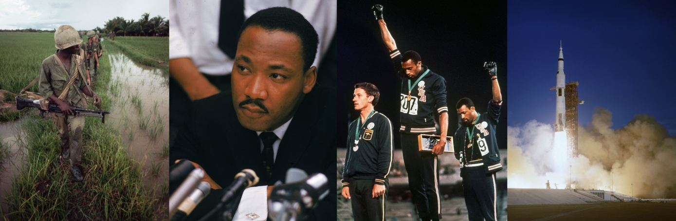 The Vietnam War, Martin Luther King Jr, a civil rights protest at the 1968 Olympics and the launch of Apollo 8. (Credit: Tim Page/Corbis via Getty Images; Ernst Haas/Ernst Haas/Getty Images; AP Photo; AP Photo)