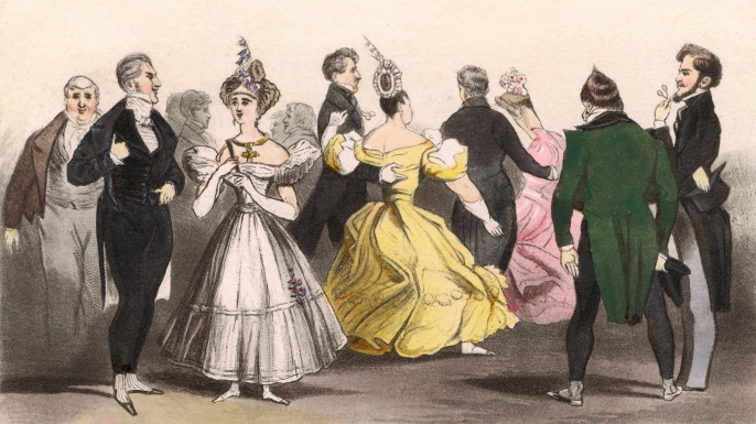 A ball in London where Beau Brummell, who is known to have brought 'cutting' to fashion, converses with the Duchess of Rutland, circa 1815. (Credit: Chronicle/Alamy Stock Photo)