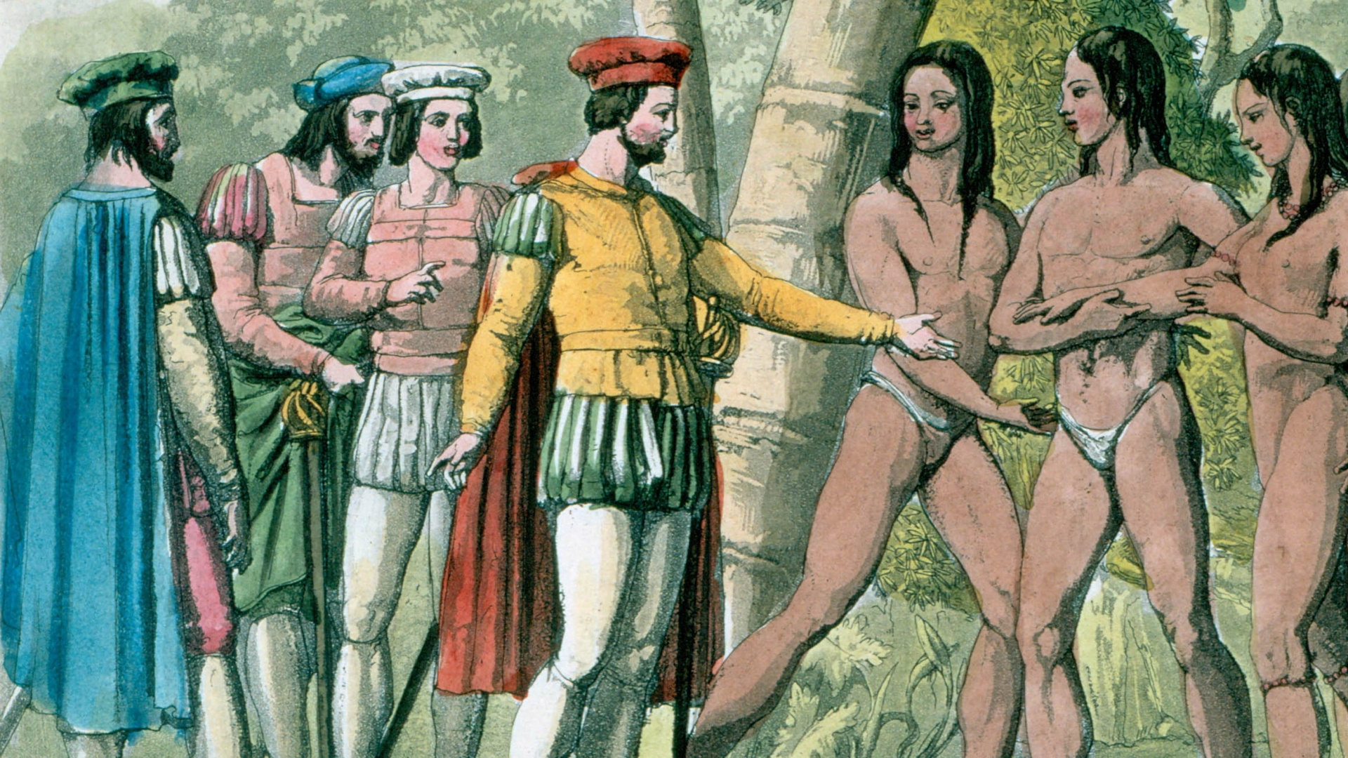 Hernando Cortez, Spanish conquistador who conquered Mexico, making contact with native Mexicans. (Credit: Universal History Archive/Getty Images)
