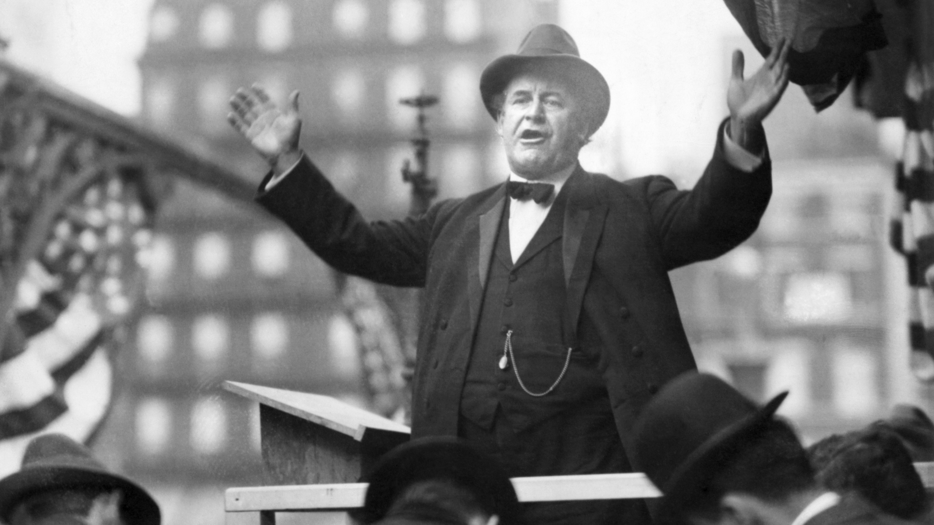 William Jennings Bryan, Democratic Presidential nominee, delivering a campaign speech in 1910. (Credit: Bettmann Archive/Getty Images)