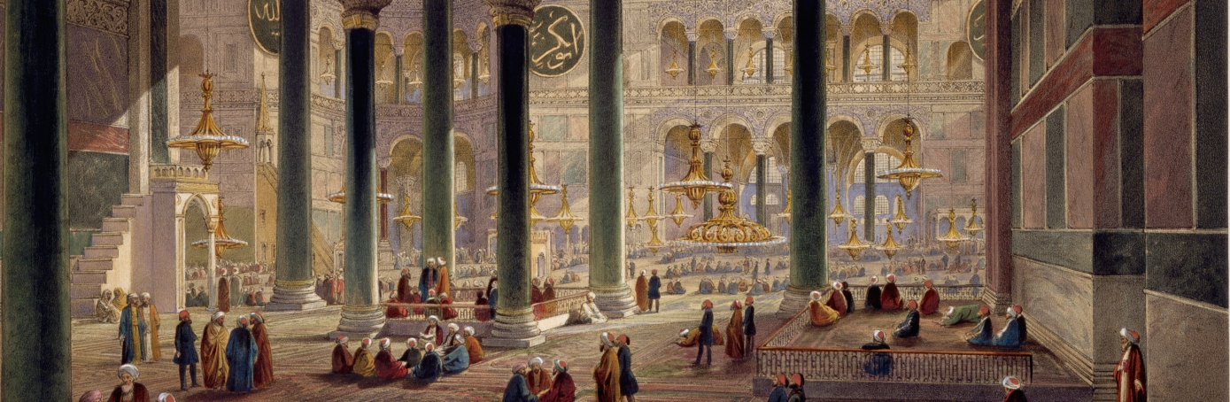 A color lithograph of Hagia Sophia in Constantinople. (Credit: Historical Picture Archive/Corbis via Getty Images)