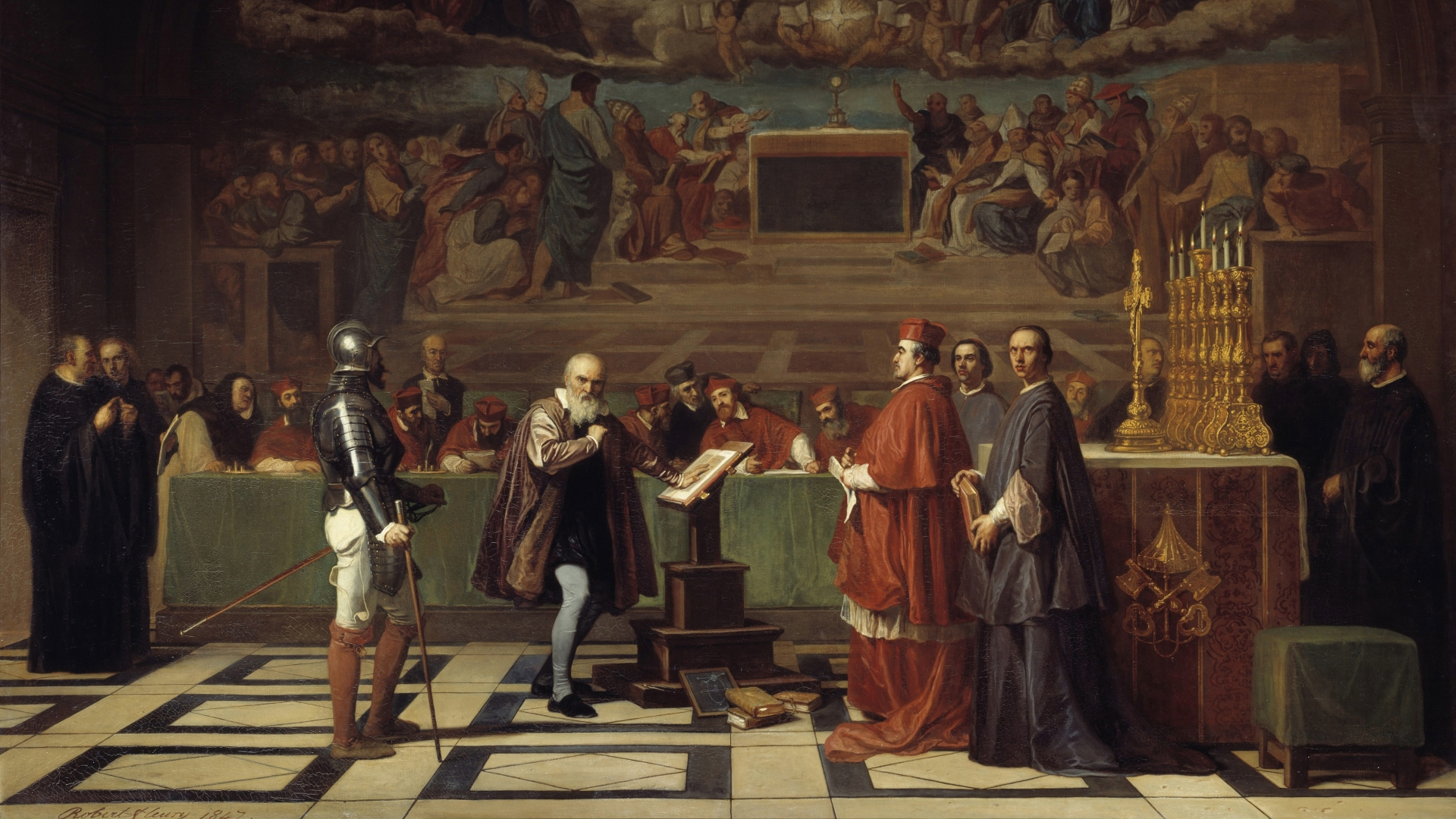 Galileo before the Holy Office in the Vatican. The astronomer was condemned by the Tribunal of the Inquisition for having defended the theories of Copernicus. (Credit: Leemage/Corbis via Getty Images)