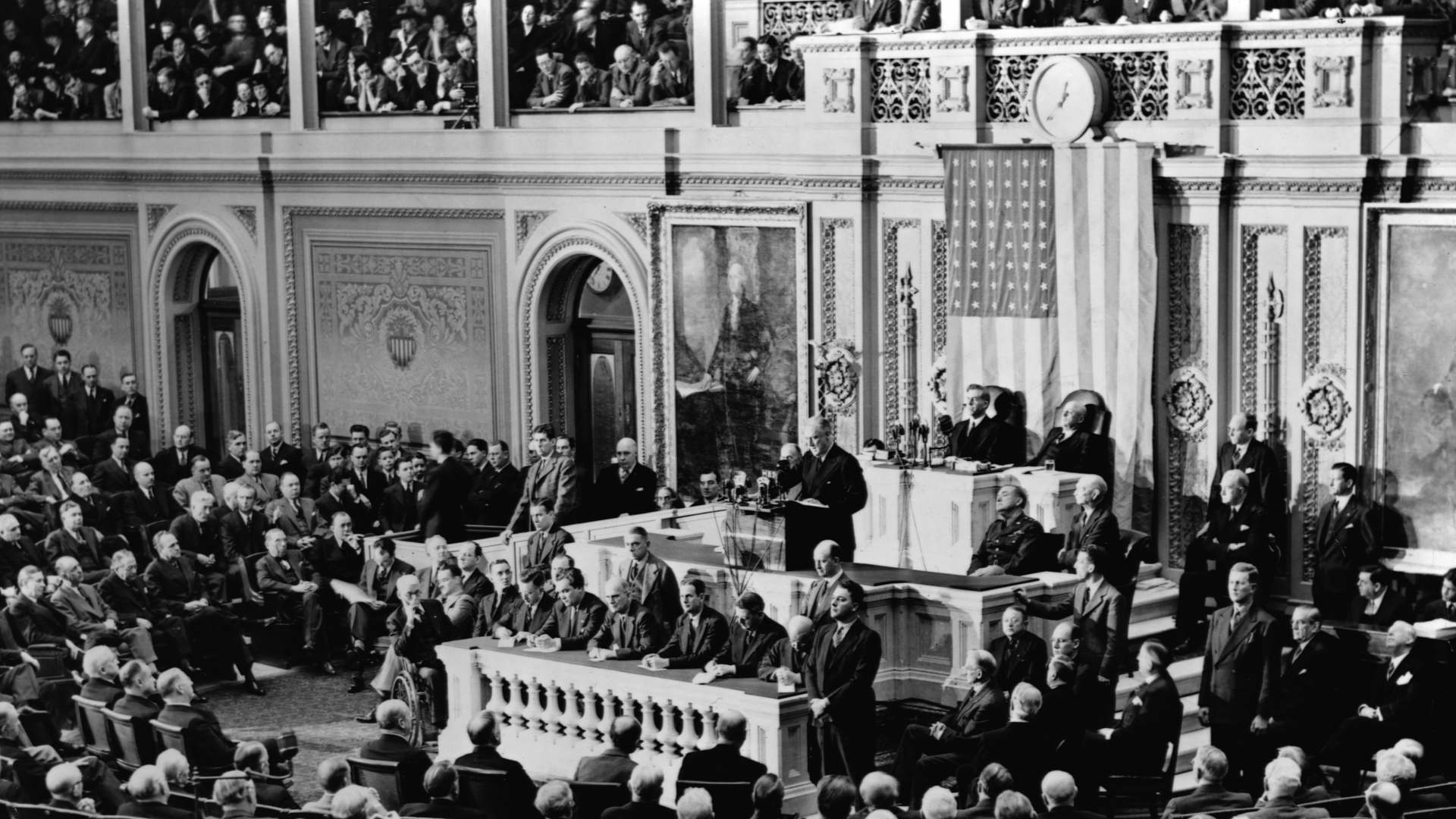 President Franklin Delano delivers his 1941 State of the Union address to a joint session of Congress. (Credit: Library of Congress/Corbis/VCG via Getty Images)