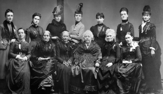 Susan B. Anthony, front row and second from the left, with Elizabeth Cady Stanton, two seats over, with executive committee members from the International Council of Women. (Credit: Library of Congress/Corbis/VCG via Getty Images)