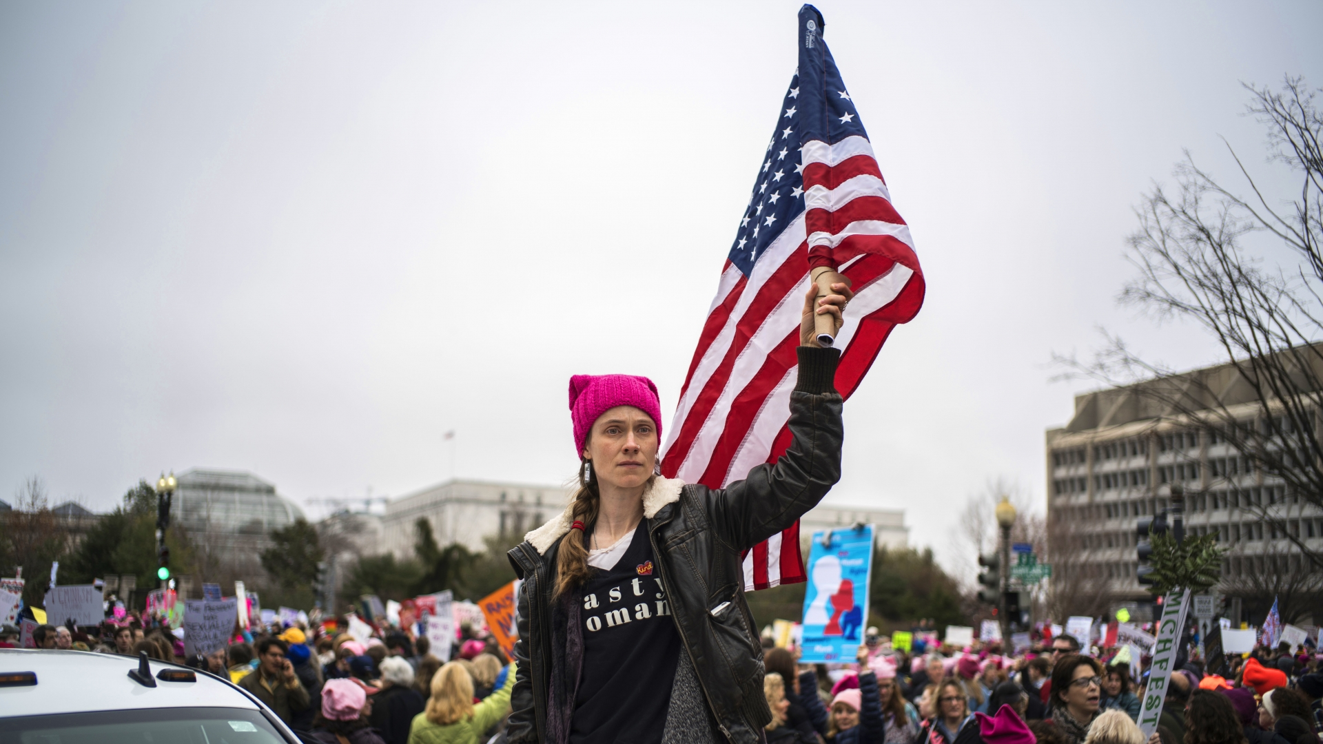 Women's March protesters, one day after the inauguration of President Donald Trump, January 21, 2017. (Credit: Michael Christopher Brown/Magnum Photos)