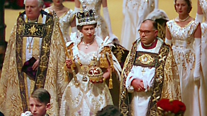 Restored footage of the coronation of Queen Elizabeth II, featured in 'A Queen is Crowned'. (Credit: ITV/REX/Shutterstock)